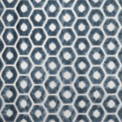 F2267 Ore Fabric: E70, BLUE GEOMETRIC, BLUE CUT VELVET, BLUE TEXTURED VELVET, HEXAGON, CUT VELVET, BLUE GEOMETRIC CUT VELVET, TEXTURED VELVET