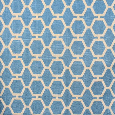 F2277 Slate Fabric: E70, BLUE GEOMETRIC EMBROIDERY, BLUE EMBROIDERY, BLUE GEOMETRIC, GEOMETRIC EMBROIDERY, HEXAGON