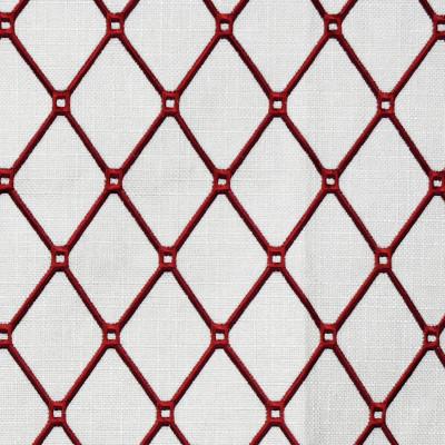 F2320 Carmine Fabric: E71, RED DIAMOND, RED EMBROIDERY, RED GEOMETRIC, RED LATTICE, LATTICE EMBROIDERY, DIAMOND EMBROIDERY, GEOMETRIC EMBROIDERY, RED DIAMOND EMBROIDERY, RED GEOMETRIC EMBROIDERY