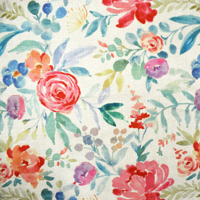 F2326 Coral Fabric: E71, MULTICOLOR FLORAL, MULTICOLOR PRINT, PINK AND BLUE FLORAL, RED, PINK, BLUE, PURPLE, ORANGE, GREEN, FLORAL PRINT