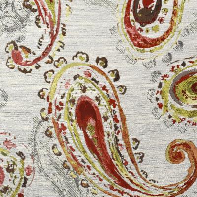 F2337 Bittersweet Fabric: E71, GREEN AND ORANGE PAISLEY, PAISLEY JACQUARD, GREEN AND ORANGE JACQUARD, JACQUARD, PAISLEY, ORANGE, GREEN