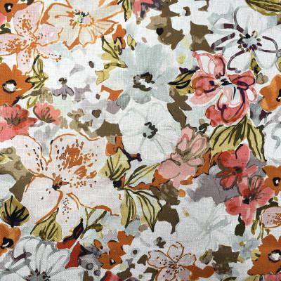 F2339 Dawn Fabric: E71, FLORAL PRINT, ORANGE AND PINK FLORAL, ORANGE AND PINK PRINT, FLORAL, MULITCOLOR FLORAL, MULTICOLOR PRINT