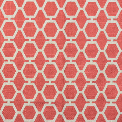 F2342 Melon Fabric: E71, HONEYCOMB, HEXAGON, GEOMETRIC EMBROIDERY, CORAL EMBROIDERY, CORAL GEOMETRIC, TEXTURED EMBROIDERY