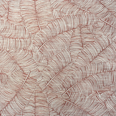 F2346 Coral Fabric: E71, TROPICAL, TROPICAL WOVEN, CORAL WOVEN, CORAL TROPICAL, LEAF, CORAL FOLIAGE, WOVEN CORAL FOLIAGE,