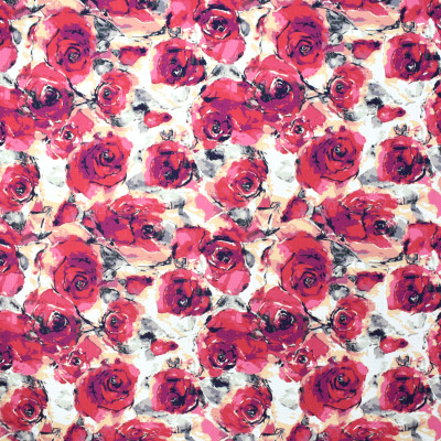 F2347 Rose Fabric: E71, FLORAL PRINT, RED PRINT, PINK FLORAL PRINT, MULTICOLOR PRINT, MULTICOLOR FLORAL, RED AND PINK FLORAL PRINT