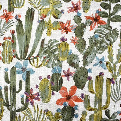 F2359 Sage Fabric: E71, NOVELTY PRINT, GREEN AND ORANGE NOVELTY PRINT, CACTUS, CACTUS PRINT, FOLIAGE PRINT, NOVELTY FOLIAGE
