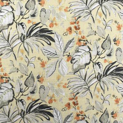 F2368 Straw Fabric: E71, TROPICAL FLORAL PRINT, GREEN AND ORANGE FLORAL, FLORAL PRINT, TROPICAL PRINT, GREEN AND ORANGE TROPICAL, TROPICAL FOLIAGE, FOLIAGE PRINT, ORANGE AND GREEN FOLIAGE