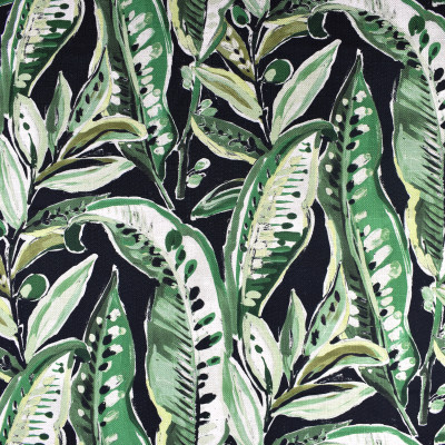 F2370 Leaf Fabric: E71, LEAF, GREEN AND BLACK LEAF PRINT, TROPICAL PRINT, TROPICAL LEAF, GREEN AND BLACK TROPICAL, GREEN FOLIAGE, GREEN AND BLACK FOLIAGE, GREEN TROPICAL FOLIAGE
