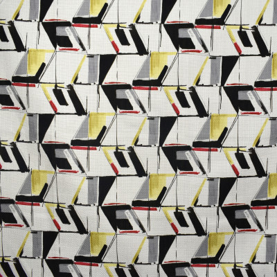 F2371 Cardinal Fabric: E71, MULTICOLOR GEOMETRIC, GEOMETRIC PRINT, GRAY, YELLOW, BLACK, RED, PRINT, BLACK AND YELLOW GEOMETRIC, YELLOW AND BLACK CONTEMPORARY, CONTEMPORARY PRINT, CONTEMPORARY GEOMETRIC