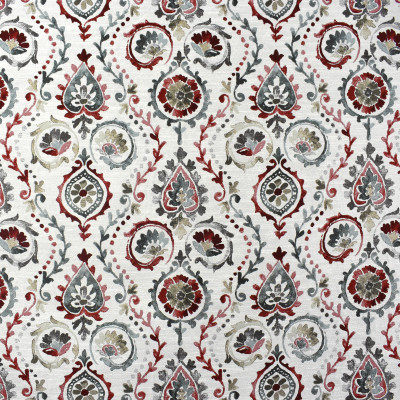 F2373 Redstone Fabric: E71, RED AND TEAL MEDALLION, MEDALLION JACQUARD, RED AND TEAL JACQUARD, TEAL, RED, MEDALLION, SCROLL, SCROLL JACQUARD