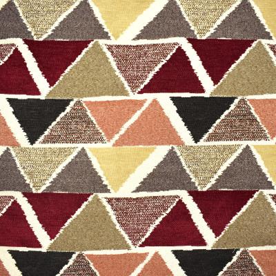 F2385 Pepper Fabric: E71, MULTICOLOR GEOMETRIC, GEOMETRIC CHENILLE, TRIANGLES, RED, ORANGE, BROWN, BEIGE, BLACK, MULTICOLOR CHENILLE, GEOMETRIC TEXTURE