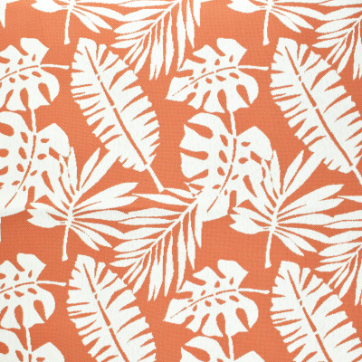 F2645 Coral Fabric: E76, MADE IN USA, REVOLUTION, OUTDOOR, REVOLUTION OUTDOOR, PERFORMANCE, BLEACH CLEANABLE, TROPICAL OUTDOOR, LEAF, OUTDOOR LEAF, ORANGE TROPICAL, ORANGE OUTDOOR, ORANGE LEAF, TROPICAL, FOLIAGE