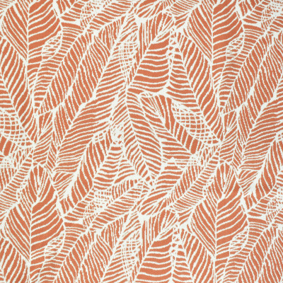 F2647 Coral Fabric: E76, MADE IN USA, REVOLUTION, OUTDOOR, REVOLUTION OUTDOOR, PERFORMANCE, BLEACH CLEANABLE, TROPICAL OUTDOOR, LEAF, OUTDOOR LEAF, ORANGE TROPICAL, ORANGE OUTDOOR, ORANGE LEAF, TROPICAL, FOLIAGE, CORAL OUTDOOR, CORAL LEAF