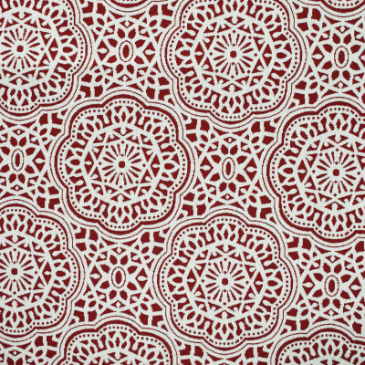 F2651 Crimson Fabric: E76, MADE IN USA, REVOLUTION, OUTDOOR, REVOLUTION OUTDOOR, PERFORMANCE, BLEACH CLEANABLE, OUTDOOR MEDALLION, OUTDOOR GEOMETRIC, RED MEDALLION, RED GEOMETRIC