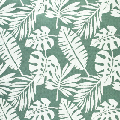 F2657 Water Fabric: E76, MADE IN USA, REVOLUTION, OUTDOOR, REVOLUTION OUTDOOR, PERFORMANCE, BLEACH CLEANABLE, TROPICAL OUTDOOR, LEAF, OUTDOOR LEAF, TEAL TROPICAL, TEAL OUTDOOR, TEAL LEAF, TROPICAL, FOLIAGE