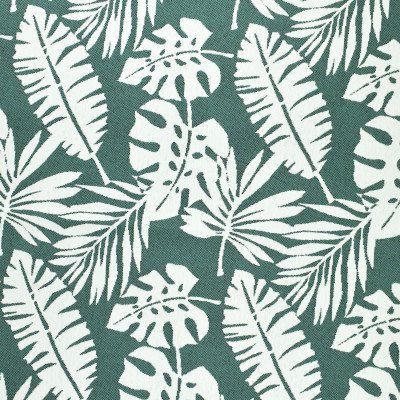 F2661 Pond Fabric: E76, MADE IN USA, REVOLUTION, OUTDOOR, REVOLUTION OUTDOOR, PERFORMANCE, BLEACH CLEANABLE, TROPICAL OUTDOOR, LEAF, OUTDOOR LEAF, TEAL TROPICAL, TEAL OUTDOOR, TEAL LEAF, TROPICAL, FOLIAGE