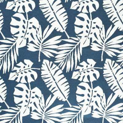 F2672 Cobalt Fabric: E76, MADE IN USA, REVOLUTION, OUTDOOR, REVOLUTION OUTDOOR, PERFORMANCE, BLEACH CLEANABLE, TROPICAL OUTDOOR, LEAF, OUTDOOR LEAF, BLUE TROPICAL, BLUE OUTDOOR, BLUE LEAF, TROPICAL, FOLIAGE