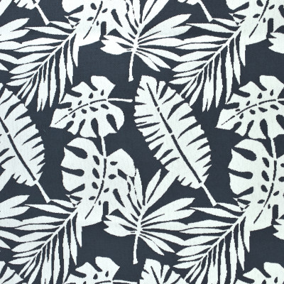 F2680 Prussian Blue Fabric: E76, MADE IN USA, REVOLUTION, OUTDOOR, REVOLUTION OUTDOOR, PERFORMANCE, BLEACH CLEANABLE, TROPICAL OUTDOOR, LEAF, OUTDOOR LEAF, BLUE TROPICAL, BLUE OUTDOOR, BLUE LEAF, TROPICAL, FOLIAGE, NAVY TROPICAL, NAVY OUTDOOR, NAVY LEAF