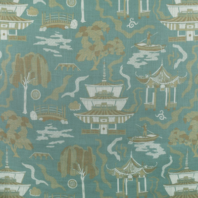 F2698 Zen Fabric: E84, ASIAN, TOILE, PAGODA, PRINT, TEAL, BLUE, MINERAL