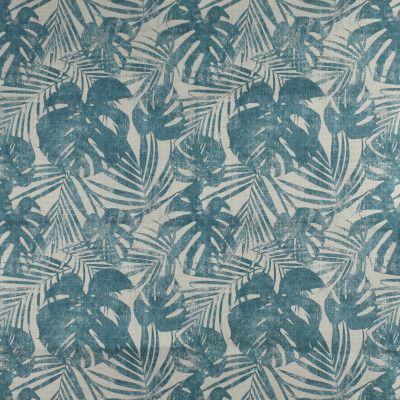 F2707 Turquoise Fabric: E84, FOLIAGE, LEAF, TROPICAL, PRINT, BLUE, TEAL, TURQUOISE
