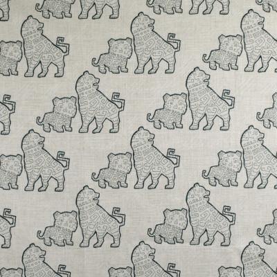 F2712 Aegean Fabric: E84, ANIMAL, ASIAN, NOVELTY, EMBROIDERY, TEAL, AEGEAN