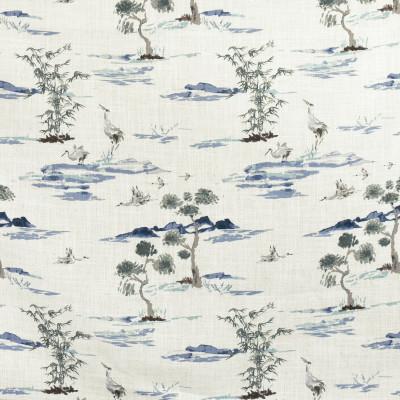 F2718 River Fabric: E84, ASIAN, ANIMAL, BIRD, PRINT, BLUE