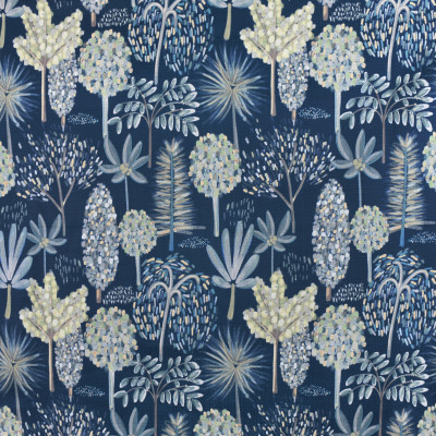 F2725 River Fabric: E84, FOLIAGE, TREE, BOTANICAL, PRINT, BLUE, FLORAL