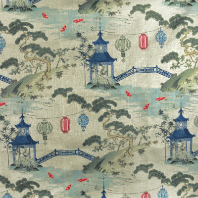 F2730 Linen Fabric: E84, ASIAN, TOILE, PAGODA, PRINT, GREEN, RED, BLUE