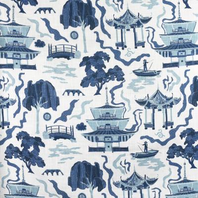 F2732 Indigo Fabric: E84, ASIAN, TOILE, PAGODA, PRINT, INDIGO, BLUE