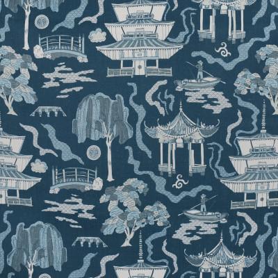 F2734 Riverside Fabric: E84, ASIAN, TOILE, PAGODA, PRINT, NAVY, BLUE
