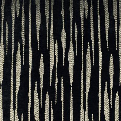 F2790 Black Fabric: E83, METALLIC, STRIPE, EMBROIDERY, GOLD, BLACK, CHENILLE