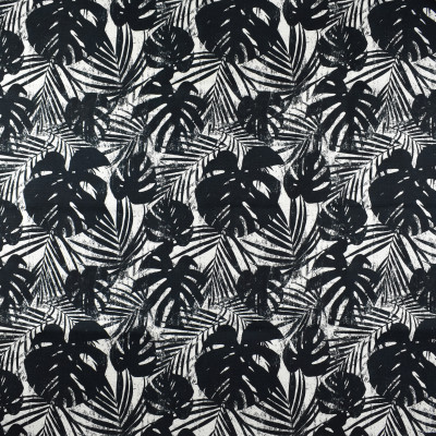 F2792 Shadow Fabric: E83, FOLIAGE, LEAF, PRINT, TROPICAL, BLACK