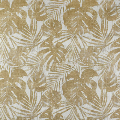F2803 Straw Fabric: E85, FOLIAGE, LEAF, TROPICAL, PRINT, NEUTRAL, STRAW, GOLD