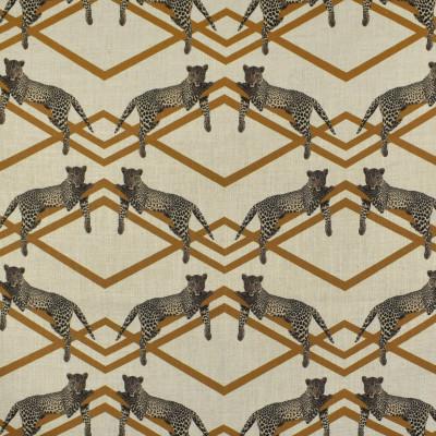 F2808 Topaz Fabric: E85, GEOMETRIC, ANIMAL, GOLD, TOPAZ, PRINT, LEOPARD, MODERN, FAUX LINEN