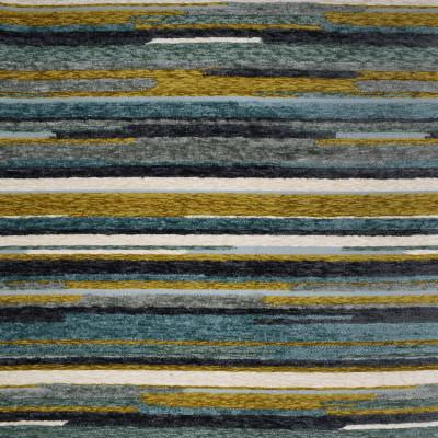 F2809 Aegean Fabric: E85, STRIPE, CONTEMPORARY, TEXTURE, CHENILLE, PLUSH, TEAL, GREEN