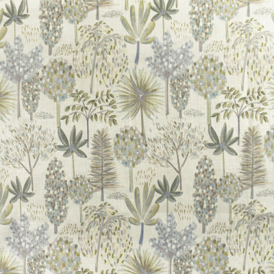 F2811 Linen Fabric: E85, FOLIAGE, TREE, BOTANICAL, PRINT,  FLORAL, GREEN, BLUE