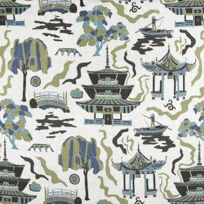 F2812 Lilypad Fabric: E85, ASIAN, TOILE, PAGODA, PRINT, GREEN, TEAL