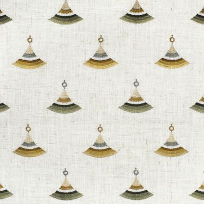 F2818 Moss Fabric: E85, WINDOW, DRAPERY, GEOMETRIC, CONTEMPORARY, EMBROIDERY, FAUX LINEN, GREEN, MOSS, GOLD