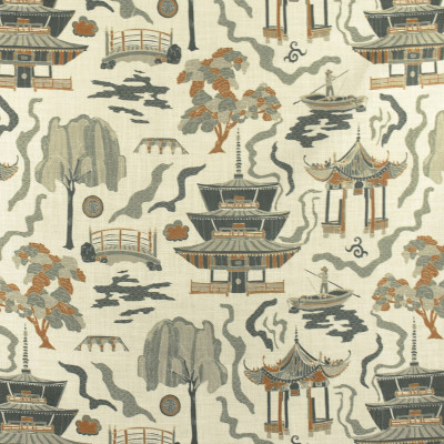 F2823 Topaz Fabric: E85, ASIAN, TOILE, PAGODA, PRINT, GREEN, GOLD, TOPAZ