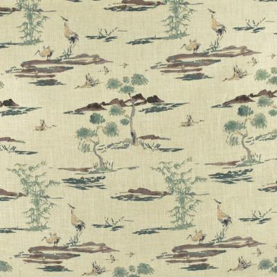 F2825 Bamboo Fabric: E85, ASIAN, ANIMAL, BIRD, PRINT, GREEN, BROWN