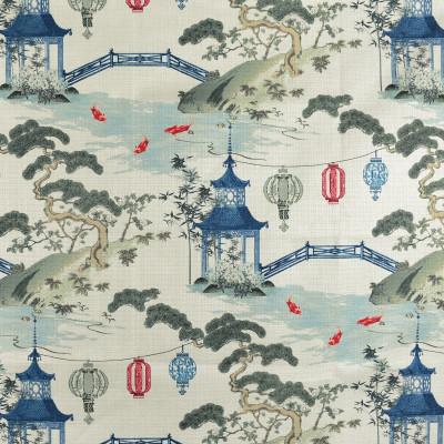F2827 Pearl Fabric: E85, ASIAN, TOILE, PAGODA, PRINT, GREEN, RED, BLUE