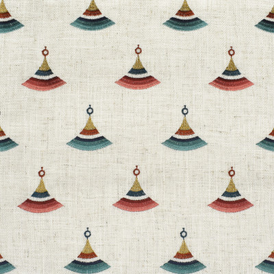 F2829 Primrose Fabric: E85, WINDOW, DRAPERY, GEOMETRIC, CONTEMPORARY, EMBROIDERY, FAUX LINEN, RED, GOLD, BLUE