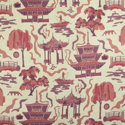 F2835 Mauve Fabric: E85, ASIAN, TOILE, PAGODA, PRINT, PINK, PURPLE, BERRY, MAUVE