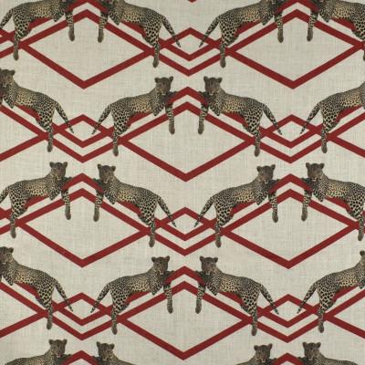 F2844 Carmine Fabric: E85, GEOMETRIC, ANIMAL, RED, PRINT, LEOPARD, MODERN, FAUX LINEN