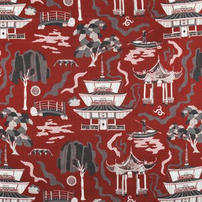 F2845 Sangria Fabric: E85, ASIAN, TOILE, PAGODA, PRINT, RED, SANGRIA