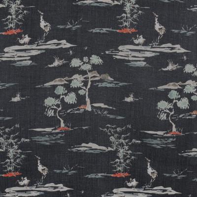 F2847 Black Fabric: E85, ASIAN, ANIMAL, BIRD, PRINT, BLACK, RED