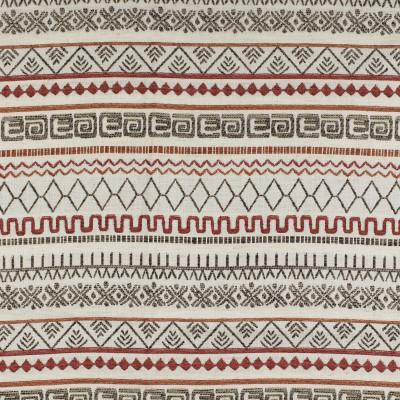 F2848 Cayenne Fabric: E85, GEOMETRIC, WOVEN, TEXTURE, SOUTHWEST, ORANGE, GRAY, GREY