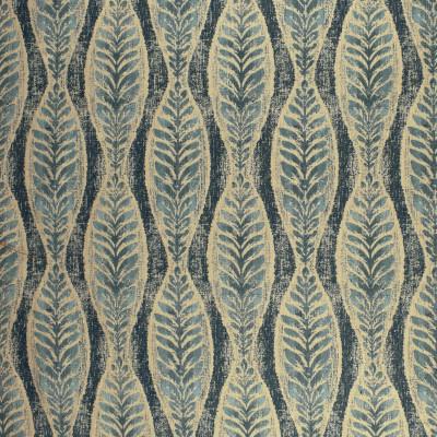 F2966 Indigo Fabric: E80, FOLIAGE, FERN, LEAF, JACQUARD, WOVEN, TEXTURE, BLUE, INDIGO