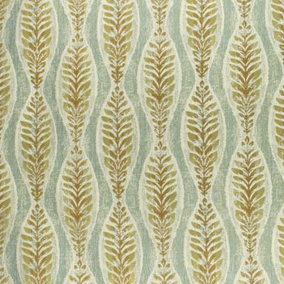 F2990 Fresco Fabric: E80, FOLIAGE, FERN, LEAF, JACQUARD, WOVEN, TEXTURE, TEAL, GOLD, BOTANICAL