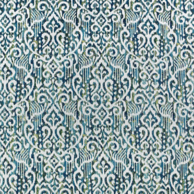 F2995 Lagoon Fabric: E80, IKAT, MEDALLION, AZTEC, WOVEN, TEAL, GREEN, GREEN AND TEAL